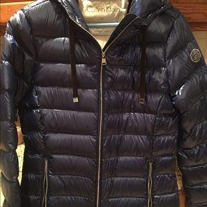 NWOT down puffer coat with hood, Calvin Klein